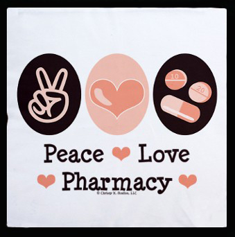 peace love pharmacyggggg pharmacist throw pillow